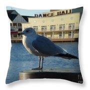 Boardwalk Seagull Throw Pillow