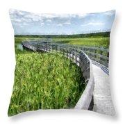 Boardwalk Through The Dunes Prince Edward Island Throw Pillow