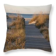 Boardwalk To The Beach Throw Pillow