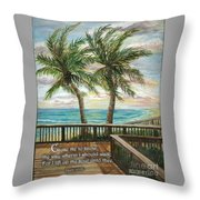 Boardwalk With Two Palms Psalm 143 Throw Pillow
