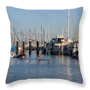 Boat Aims At Paddleboarders Throw Pillow