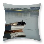 Boat And Reflection Throw Pillow