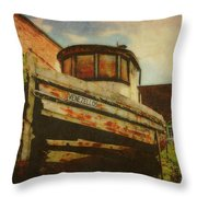 Boat At Apalachicola Throw Pillow