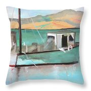 Boat At China Camp State Park Throw Pillow
