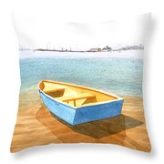 Boat At Low Tide Throw Pillow