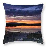 Boat At Sunset Throw Pillow