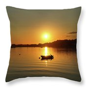 Boat At Sunset Glow Throw Pillow