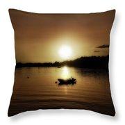 Boat At Sunset Glow - Sepia  Throw Pillow