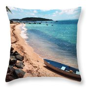 Boat Beach Vieques Throw Pillow