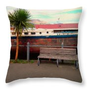 Boat Bench Tree Throw Pillow