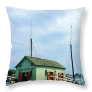 Boat By Oyster Shack Throw Pillow