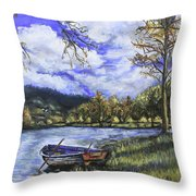 Boat By The Lake Throw Pillow