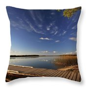 Boat Dock And Autumn Trees Along A Saskatchewan Lake Throw Pillow