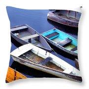 Boat Dock Camp Ellis Throw Pillow