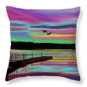 Boat Dock Throw Pillow