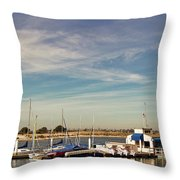 Boat Dock On The Bay Throw Pillow