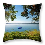 Boat Framed By Trees And Foliage Throw Pillow