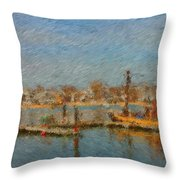 Boat Harbor Province Town Throw Pillow