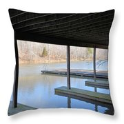 Boat House At Sweet Briar Throw Pillow