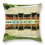 Boat House At Verona Park  Throw Pillow