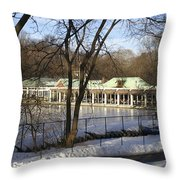 Boat House Central Park Ny Throw Pillow