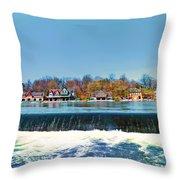 Boat House Row From Fairmount Dam Throw Pillow