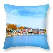 Boat House Row From West River Drive Throw Pillow