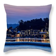 Boat House Row Throw Pillow