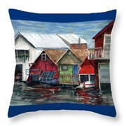 Boat Houses On The Lake Throw Pillow
