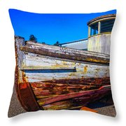 Boat In Dry Dock Throw Pillow