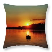 Boat In Sunset Glow Throw Pillow