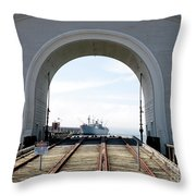 Boat In The Arch Throw Pillow