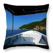 Boat In The Ocean Throw Pillow