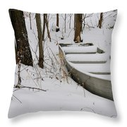 Boat In Winter Throw Pillow