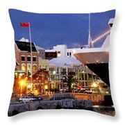 Boat Is In On Front Street Throw Pillow