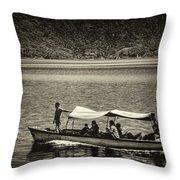 Boat - Lago De Coatepeque, El Salvador Throw Pillow