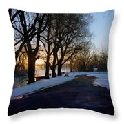 Boat Launch In Winter Throw Pillow
