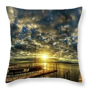 Boat Launch Sunrise Throw Pillow