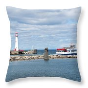 Boat Leaving Throw Pillow