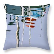 Boat Mast Water Reflection Throw Pillow