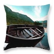 Boat Near The River Bank H B Throw Pillow