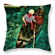 Boat Of Venice Throw Pillow