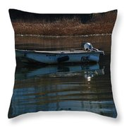 Boat On A Calm Day Throw Pillow