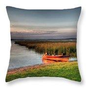Boat On A Minnesota Lake Throw Pillow