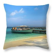 Boat On A Tropical Island Throw Pillow