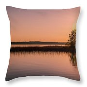 Boat On Calm Lake Throw Pillow