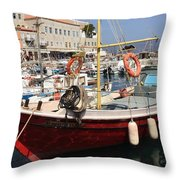 Boat On Hydra Throw Pillow