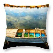 Boat On Lake Throw Pillow