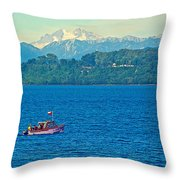 Boat On Llanquihue Lake From Puerto Varas-chile Throw Pillow