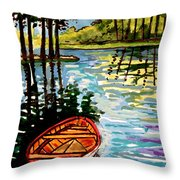 Boat On The Bayou Throw Pillow